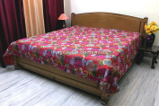 DK Homewares Indian Kantha Bedspread Quilt Red Queen Size Coverlet Hand Stitched Cotton Tropicana Print Double Bed Coverlet
