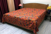 DK Homewares Indian Kantha Bedspread Quilt Orange Queen Size Bed Cover Hand Stitched Cotton Bird Print Double Bed Coverlet