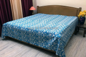 DK Homewares Indian Kantha Bedspread Quilt Turquoise Blue Queen Size Bedding Hand Stitched Cotton Ikat Print Double Bed Coverlet