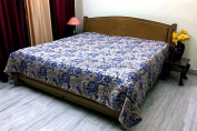 DK Homewares Indian Kantha Bedspread Quilt Multicolor Queen Size Bed Cover Hand Stitched Cotton Floral Print Double Bed Coverlet