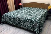 DK Homewares Indian Kantha Bedspread Quilt Dark Green Queen Size Coverlet Hand Stitched Cotton Ikat Print Double Bed Coverlet