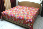 DK Homewares Indian Kantha Quilt Orange Queen Size Bedding Hand Stitched Cotton Tropicana Print Double Bed Bedspread