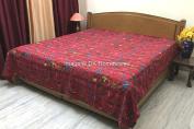 DK Homewares Indian Kantha Quilt Dark Red Queen Size Bedding Hand Stitched Cotton Bird Print Double Bed Bedspread