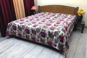 DK Homewares Indian Kantha Quilt White Queen Size Coverlet Hand Stitched Cotton Tropicana Print Double Bed Bedspread