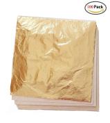 Kinxor 100 Sheets Imitation Gold Leaf,Gilding Crafting,Silver Leaf, Rose Gold Leaf for Arts,Decoration,Furniture,14cm by 14cm