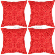 Indian Living Room Pillow Cases Red Mirror Work Embroidered Cotton Square Pillow Covers Set Of 4 40 x 40 cm (16x16 Inch) By DK Homewares
