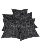 Boho Living Room Cushion Covers Black Mirror Work Embroidered Cotton Square Pillow Covers Set Of 5 40 x 40 cm (16x16 Inch) By DK Homewares