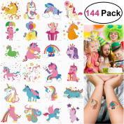 UNOMOR 144PCS 5.1cm x 5.1cm Unicorn Temporary Tattoos for Unicorn Party Supplies Party Favours and Kids Birthday Party--24Patterns