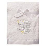 Baby Starters Sculpted Micro Velour Blanket with Satin Applique, I Love You to The Moon and Back