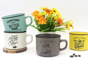 """Set 4 Cups """"Time for Coffee – Details and Memories For Weddings Original Coffee Cup Phrases"""
