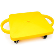 Plastic Slide Board, Yellow Non-skid Casters Scooter Board Kids, Safety Handles