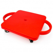Sliding Board, Red Non-skid Casters Scooter Board Kids, With Safety Handles