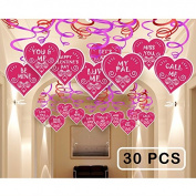 Valentine's Day Decorations and Ornaments-30pcs Foil Swirl Ceiling Hanging Party Supplies for Home/Holiday,Dangling Valentines Message Hearts Décor Streamers,10 Cutout Designs
