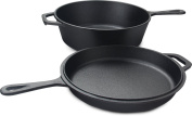 Pre Seasoned Cast Iron 2-In-1 Combo Cooker with 3l Dutch Oven and 10.25 inch Skillet by Utopia Kitchen