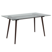 Flash Furniture Meriden 80cm x 140cm Solid Espresso Wood Table with Clear Glass Top