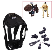 Holaca Sports Dog Harness Fetch Chest Mount for GoPro HERO 1 2 3 3+ 4 4Session HERO+/HERO+ LCD and Sony Action HDR-AS15/20/30/100/200V/1000V/ SJ4000 SJ5000 SJ6000 Sports Camera Accessories Kit