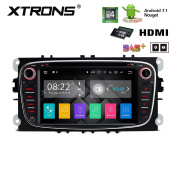 XTRONS® HDMI Android 7.1 Quad Core 18cm Black HD Digital Touch Screen Car Stereo Radio DVD Player GPS for Ford Mondeo Focus S-Max