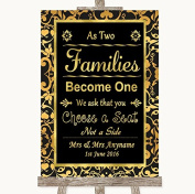 Black & Gold Damask Wedding Sign Collection Black & Gold Damask As Families Become One Seating Plan Wedding Sign