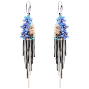 Gorgeous pure hand-crafted crystal flower tassel long earrings