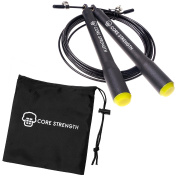 Speed Jump Rope by Core Strength UK - Fitness, Fat Loss & Conditioning. Ideal for HIIT, Boxing MMA, Interval Training, Double Unders & Conditioning