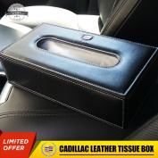 US85 Cadillac Leather Auto Car Tissue Box Cover Napkin Paper Holder Towel Dispenser