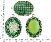 2pcs Czech Green Turquoise Patina Antique Silver Tone Large Oval Pendant Bezel Cabochon Settings Blank Tray Metal Base Fit Cameo 18mm x 25mm
