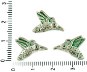 10pcs Czech Green Turquoise Patina Antique Silver Tone Hummingbird Bird Animal Charms Bohemian Metal Findings 11mm x 16mm