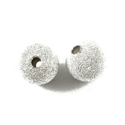 5Five Packet Of 50 x Silver Plated Brass Stardust Twinkle Round Beads 8mm