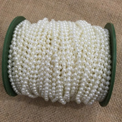 OZXCHIXU 4mm Bead Pearl String Ivory for Craft , Wedding Decoration