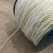 OZXCHIXU 2.5mm Bead Pearl String (Ivory) for Craft , Wedding Decoration