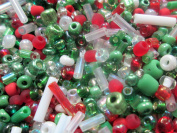 50g of Christmas Seed Bead Mix - Green, Red, White, Clear and Silver - 1st4Beads