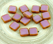 Picasso Brown Opaque Silk Valentine Pink Table Cut Rustic Square Flat Czech Glass Beads 10mm 10pcs