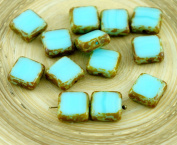 Picasso Brown Light Blue Table Cut Rustic Square Flat Czech Glass Beads 10mm 10pcs