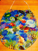 Royal blue, Sea BLue, Orange Coral, Yellow Angel fish handmade in the usa TOILET SEAT LID COVER made from tropical blue sea ocean fish FABRIC