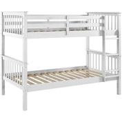 WE Furniture Solid Wood Mission Design Bunk Bed, Twin, White