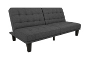 Novogratz Edison Futon Sofa Bed, Mid-Century Modern Design with Tufted Back and Seat, Converts to Full Size Bed, Grey Linen