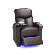 Seatcraft Raleigh Leather Gel Manual Home Theatre Recliner with Space Saver Armrests and USB Charging, Brown