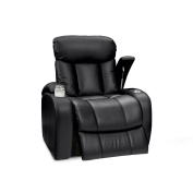Seatcraft 88-2176-LG133-3 Sausalito Leather Gel Manual Home Theatre Recliner with in-Arm Storage, Black