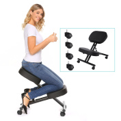 Modrine Ergonomic Kneeling Chair,Perfect Adjustable Posture Stool For Home and Office with Thick Comfortable Moulded Foam Cushions,Black