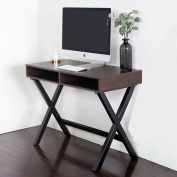 Wood Computer Desk with Storage - Great for Home Office, Gaming and Small Spaces - Sturdy Solid Wooden Base - Use as a Writing Desk, Console Table or a Vanity, Rustic Espresso Finish with Black Base