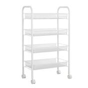 4-Tier Shelving Unit Storage Wheels Rack Mesh Rolling Cart Utility Organisation