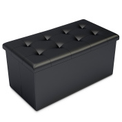 Black Faux Leather Ottoman Storage Bench -Great as a Double Seat or a Footstool, Coffee Table, Kids Toy Chest Trunk, Pouffe Living Room Furniture - Space Saving Organiser Solution