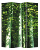 4 Panel Office Wood Folding Screen Decorative Canvas Privacy Partition Room Divider - Bamboo