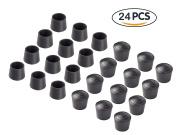 Bestsupplier 24 PCS Chair Leg Tips Caps 2.2cm Rubber Table Chair Leg Caps Anti , Black