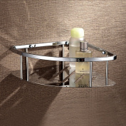Hpbge Bathroom Shelf, Brass Shower Storage Basket, Wall Mount Bathroom Corner Shower Caddy Organiser for Cosmetics, Shampoo, Soap, Chrome
