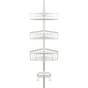 Richards Homewares Bathtub Shower Tension Corner Pole Caddy – Satin Nickel - Stylish Design with 3 Baskets with soap dish - 10.5 x 24cm x 270cm
