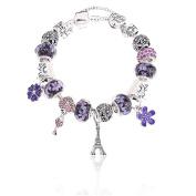 Aukmla Beaded Bracelet Handmade Carved Sterling Silver Plated Snake Chain Charm Bracelet for Women and Girls 19CM, HC-3