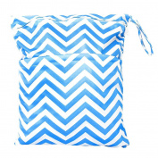 Fostly Blue Stripe Pattern Baby Nappy Bag Waterproof Zipper Bag Washable Reusable Baby Cloth Nappy Bag Infant Nappy Changing Bag