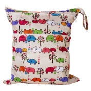 Fostly Elephant Pattern Baby Nappy Bag Waterproof Zipper Bag Washable Reusable Baby Cloth Nappy Bag Infant Nappy Changing Bag