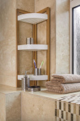 MDL 3 TIER BATHROOM FREE STANDING CORNER CADDY TIDY ORGANISER -BAMBOO